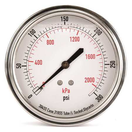Pressure Gauge, Liquid Filled, 3-1/2 In