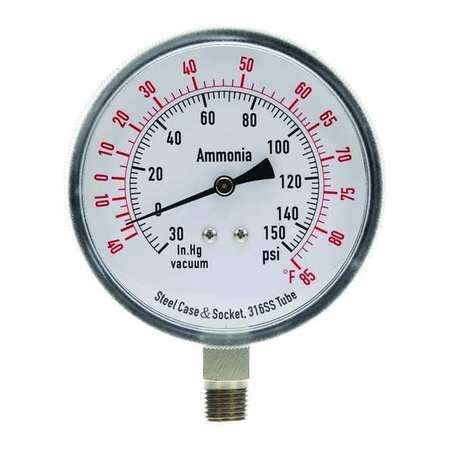 Compound Gauge, Ammonia, 3 1/2 In, 150 Psi