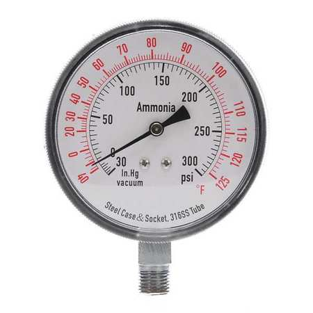 Compound Gauge, Ammonia, 3 1/2 In, 300 Psi