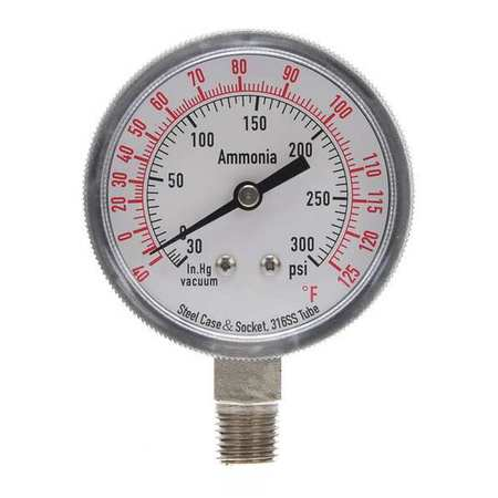 Compound Gauge, Ammonia, 2 1/2 In, 300 Psi