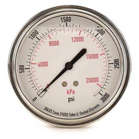 Pressure Gauge, Liquid Filled, 3-1/2 In