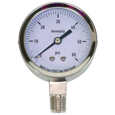 Pressure Gauge, Ag Ammonia, 2 1/2 In, 60Psi