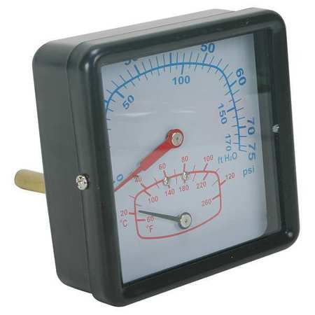 Boiler Gauge, Square, 0-75 PSI, 60 to 260 F