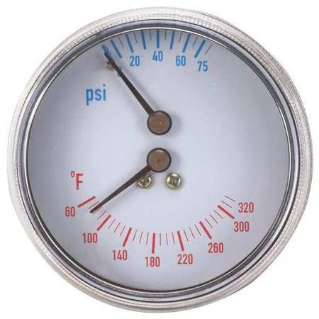 Boiler Gauge, Round, 0-75 PSI, 60 to 320 F