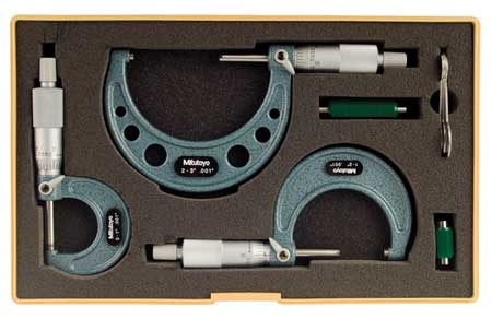 Micrometer Set, 0-3 In, 0.001 In, 3Pc