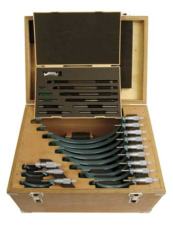 Micrometer Set, 0-12, 0.0001In, 12 Pc