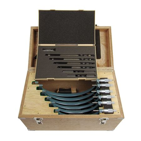 Micrometer Set, 6-12In, 0.0001In, 7Pc
