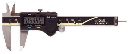 Mitutoyo 500-170-30,  Absolute Electronic Digital Caliper,  Material Stainless Steel,  Resolution 0.0005 In./0.01mm,  Range 0 to 4 In./0 to 100mm,  Jaw Depth 1.57 In.,  Accuracy +/-0.001 In.,  Fitted Plastic Case,  Features Carbide Tipped ID and OD Jaws