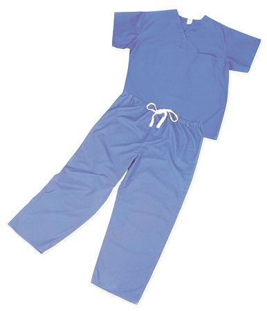 Scrub Shirt, XL, Blue, 4.6 oz.