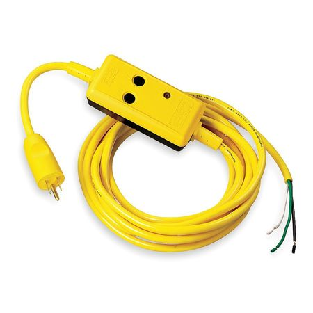 Line Cord GFCI, 15 ft., Ylw, 15A, 5-15P, 120V