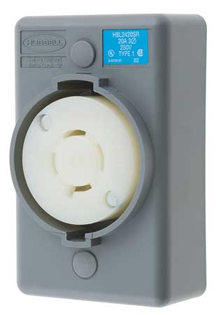 20A Locking Receptacle 3P 4W 250VAC L15-20R GY