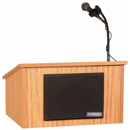 Lectern, Table Top, Wireless, Medium Oak