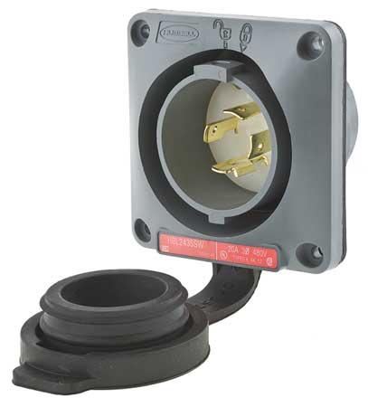 20A Watertight Flanged Twist-Lock Inlet 3P 4W 480VAC