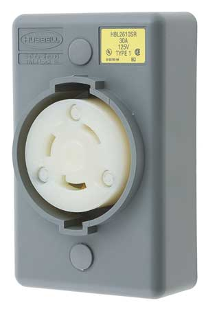 30A Locking Receptacle 2P 3W 125VAC L5-30R GY