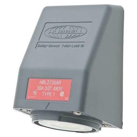 30A Angle Locking Receptacle 3P 4W 480VAC L16-30R GY