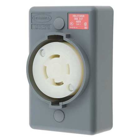 30A Locking Receptacle 3P 4W 480VAC L16-30R GY
