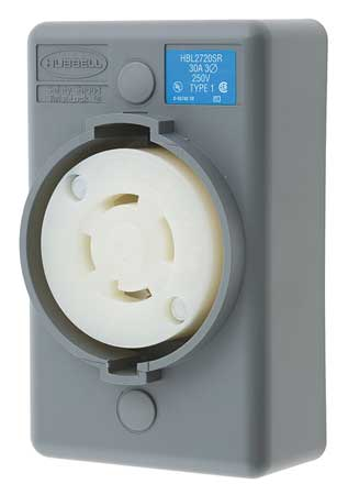 30A Locking Receptacle 3P 4W 250VAC L15-30R GY