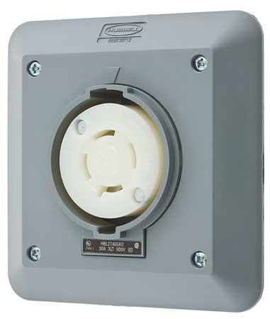 30A Locking Receptacle 3P 4W 600VAC L17-30R GY