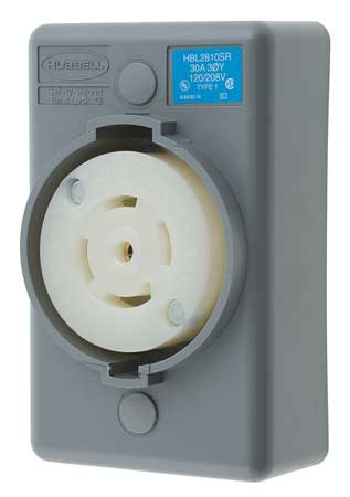 30A Locking Receptacle 4P 5W 120/208VAC L21-30R GY
