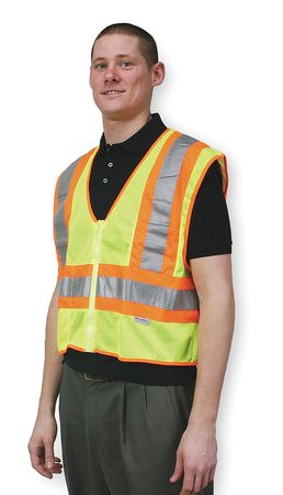 Flame Resist High Visibility Vest, Class 2, XL, Lime