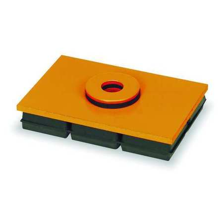 Vibration Iso Pad, 4x4x1 In, w/Hole