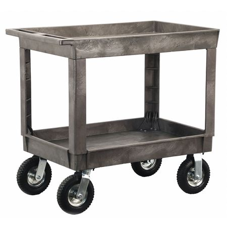 Zoro Select Deep Well 2 Shelf Plastic Cart With 8 Pneumatic Casters 2523WWG