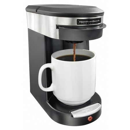 Coffeemaker 1 Cup,  Plastic,  Black and Silver
