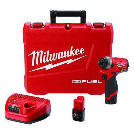 Milwaukee M12 Fuel 1 4 Cordless Impact Driver Kit 2 0ah Battery 2553 22 Zoro