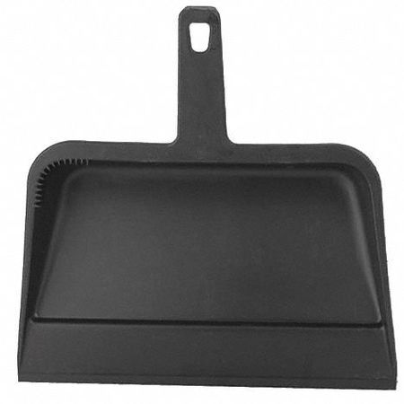 Clip On Dust Pan, Plastic, Black, 12 in.