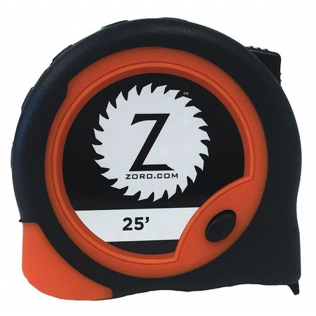 25 ft. Steel SAE Tape Measure,  Auto Rewind,  Orange/Black