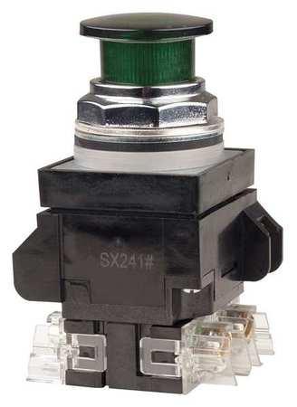 Illuminated Push Button,30mm,Green,6VAC