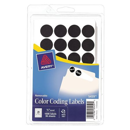 Avery Avery Black Color Coding Labels 5459 34 Round Pack Of
