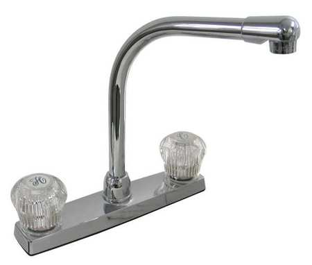 Gooseneck Kitchen Faucet, Chrome, 2 Holes, Knob Handle