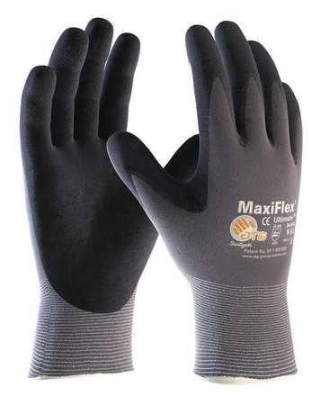 Coated Gloves, XS, Black/Gray, PR