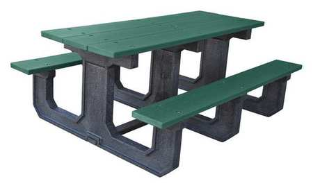 Ultrasite Picnic Table Green In W Rectangular GRN Zorocom - 96 picnic table