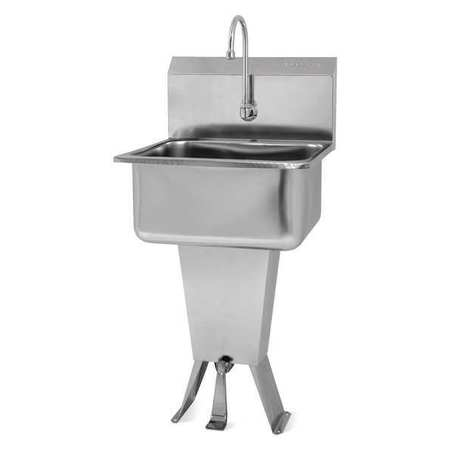 Hand Sink, 19 In. L, SS, Single Foot Pedal