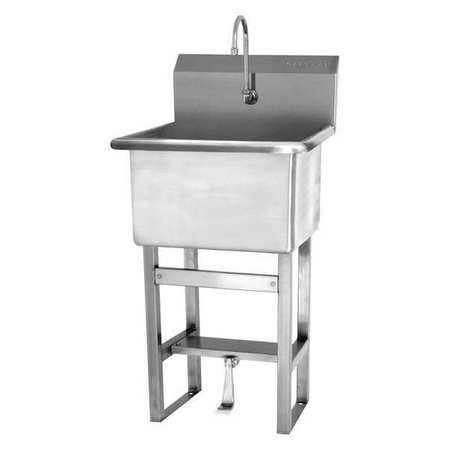 Utility Sink, 27 In. L, Single Foot Pedal