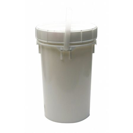 Pail, 6.5 gal., Plastic Handle, White, W/Lid