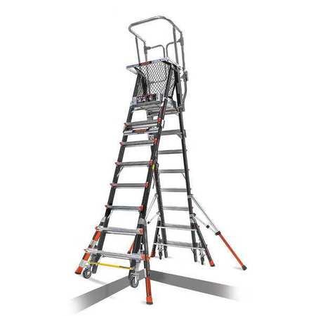 little giant 8 to 14 ft fiberglass 375 lb safety cage platform ladder type iaa 18515 817. Black Bedroom Furniture Sets. Home Design Ideas