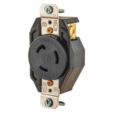 bryant 20a locking receptacle 2p 3w 250vac l6 20r bk. Black Bedroom Furniture Sets. Home Design Ideas
