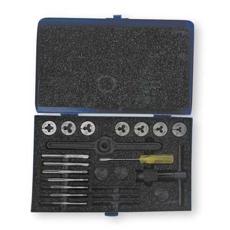 Tap and Die Set, #4 to 1/4 In, 16 pc