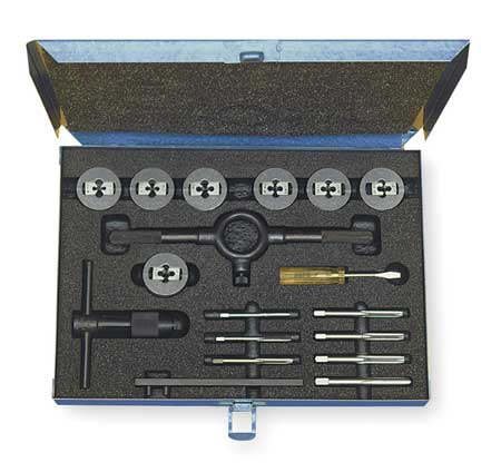 Tap and Die Set, #4 to #12,  1/4-20, 17 pc