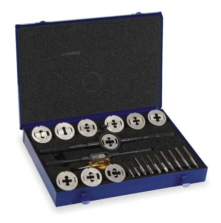 Tap and Die Set, 1/4 to 1/2 In, 23 pc