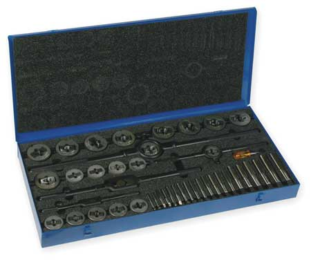 Tap and Die Set, 1/4 to 1 In, 46 pc
