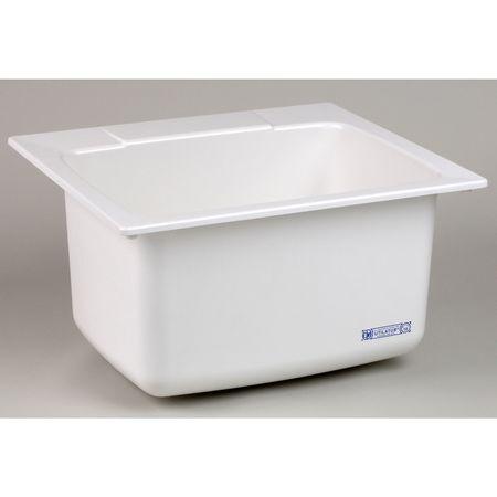 Utility Sink, Fiberglass, Drop In, White
