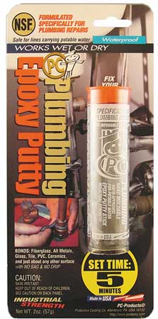 Putty, 2 Part Plumbing Epoxy, 2 Oz Pkg, Gry