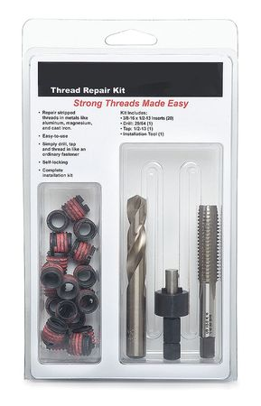 Thread Repair Kit, 3/8-24, 23 Pcs, w/Tools