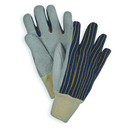 Leather Gloves, Blue/Gray, L, PR