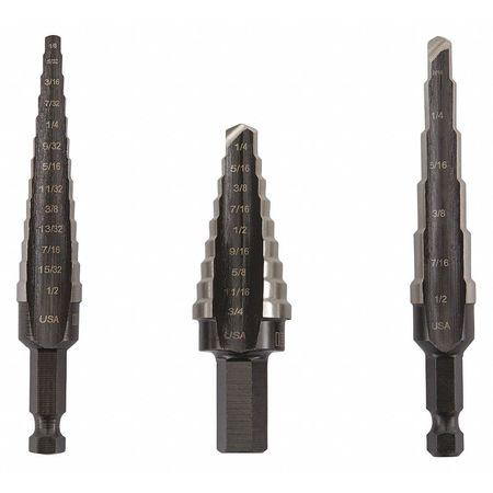 Step Drill Bit Set, HSS, 1/8-3/4 In., 3 pc.