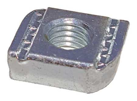 Channel Flat Nut, 1/2 In, Silver, PK25
